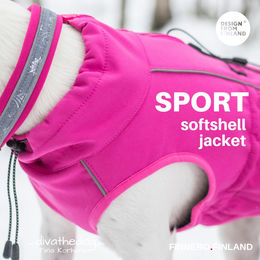 Diva wears pink SPORT softshell jacket size 40 cm photo: Tiina Korhonen/_divathedog_