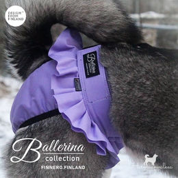 BALLERINA heat pants for dog violet and size M photo: harmaanvalkea/ Senja Pikkusilta