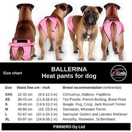 BALLERINA heat pants for dog - size chart