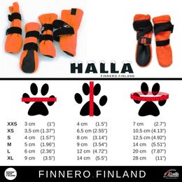 HALLA booties for dogs size chart