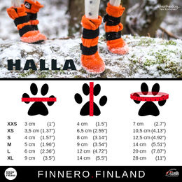 HALLA-booties measurements