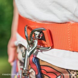 The hook is attached to both rings of the KUNTO walking belt photo: Tiina Korhonen