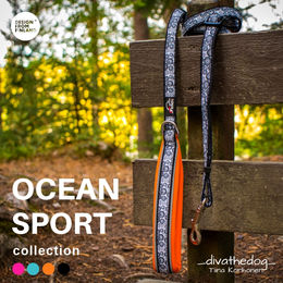 OCEAN SPORT orange leash photo: Tiina Korhonen @_divathedog_