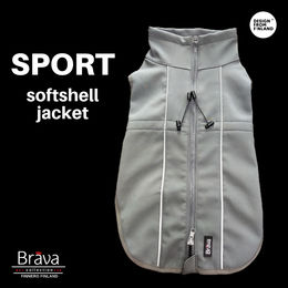 Grey BRAVA SPORT softshell jacket for dog