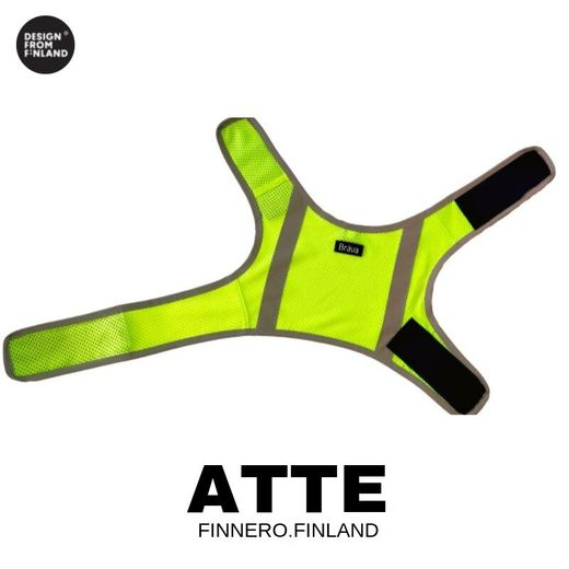 Neon yellow ATTE attention vest for dogs