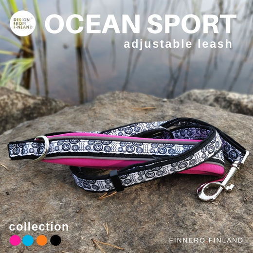 OCEAN Sport adjustable leash with violet neoprene padded handle photo: Tuula Pekkala