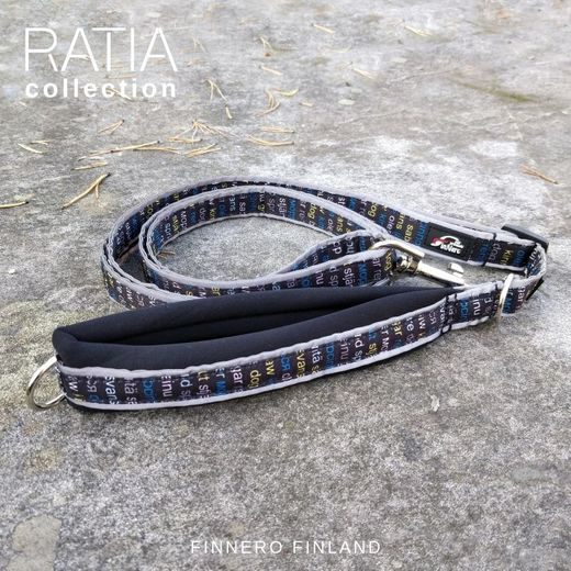 RATIA SPORT adjustable leash with black neoprene padding and blue Grafico pattern