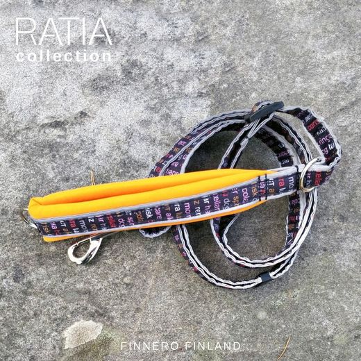 RATIA SPORT adjustable leash with orange neoprene padding and red Grafico pattern