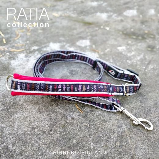 RATIA SPORT adjustable leash with red neoprene padding and red Grafico pattern