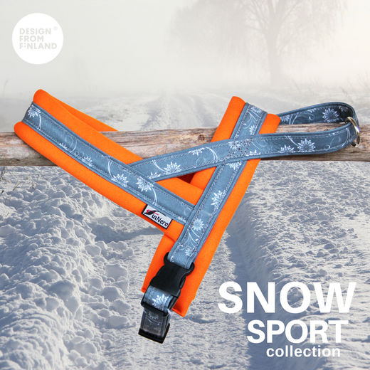 SNOW SPORT T harness eith orange neoprene padding